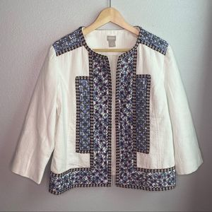 Chico's White Embroidered Beaded Open Jacket 2